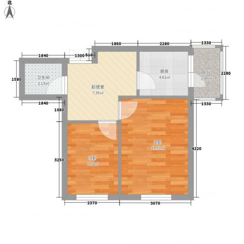 闻达绿都2室0厅1卫1厨40.00㎡户型图
