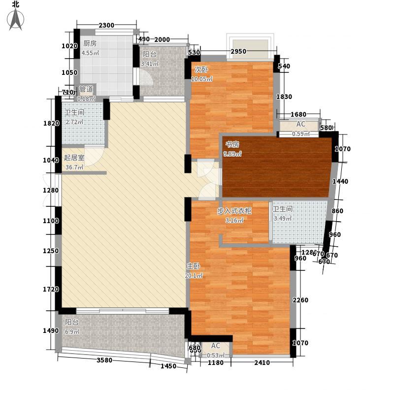 惠天然山水国际三期13.60㎡15栋B户型3室2厅2卫1厨