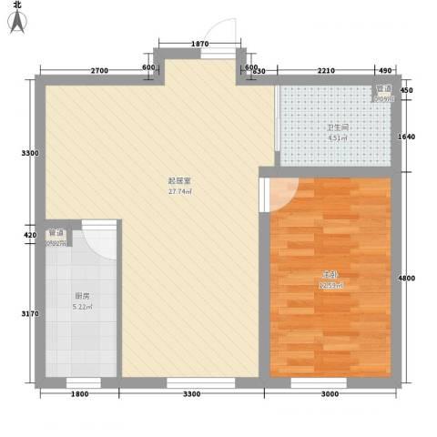 阳光华尔兹1室0厅1卫1厨67.00㎡户型图