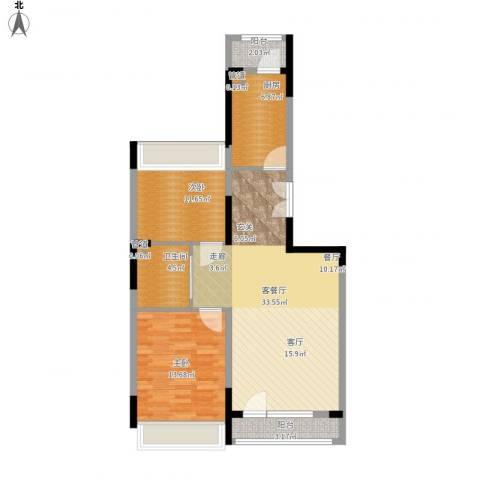 抚顺澳海澜庭2室1厅1卫1厨108.00㎡户型图