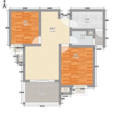 国信世家2室1厅1卫1厨89.00㎡户型图