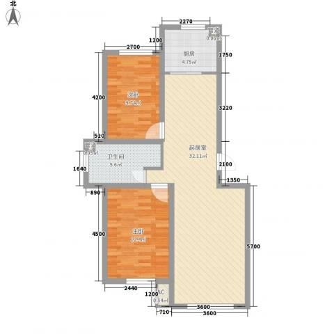 阳光华尔兹2室0厅1卫1厨90.00㎡户型图