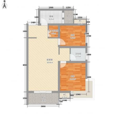 锦尚名城2室0厅1卫1厨85.00㎡户型图