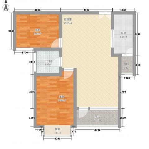 湖泉湾1号2室0厅1卫1厨87.00㎡户型图