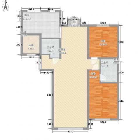 金水花城三期奥运金版2室0厅2卫1厨133.00㎡户型图