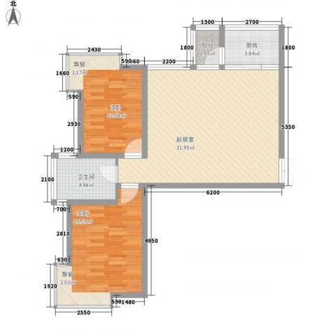 湖泉湾1号2室0厅1卫1厨92.00㎡户型图