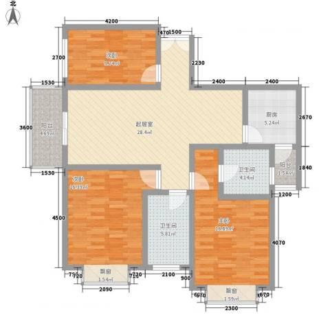 湖泉湾1号3室0厅2卫1厨117.00㎡户型图