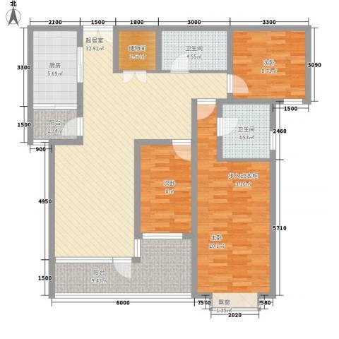 湖泉湾1号3室0厅2卫1厨123.00㎡户型图