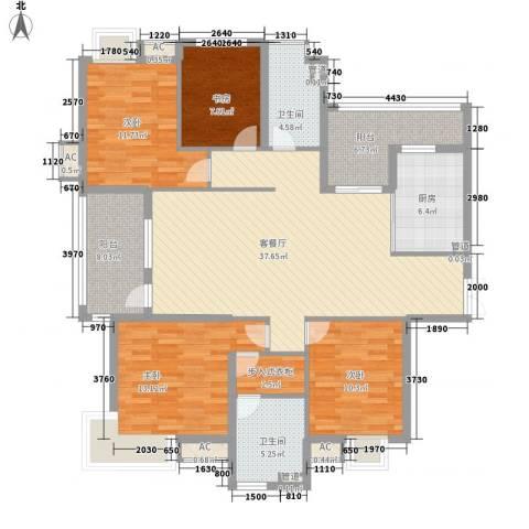 金地格林世界高尔夫公馆4室1厅2卫1厨164.00㎡户型图