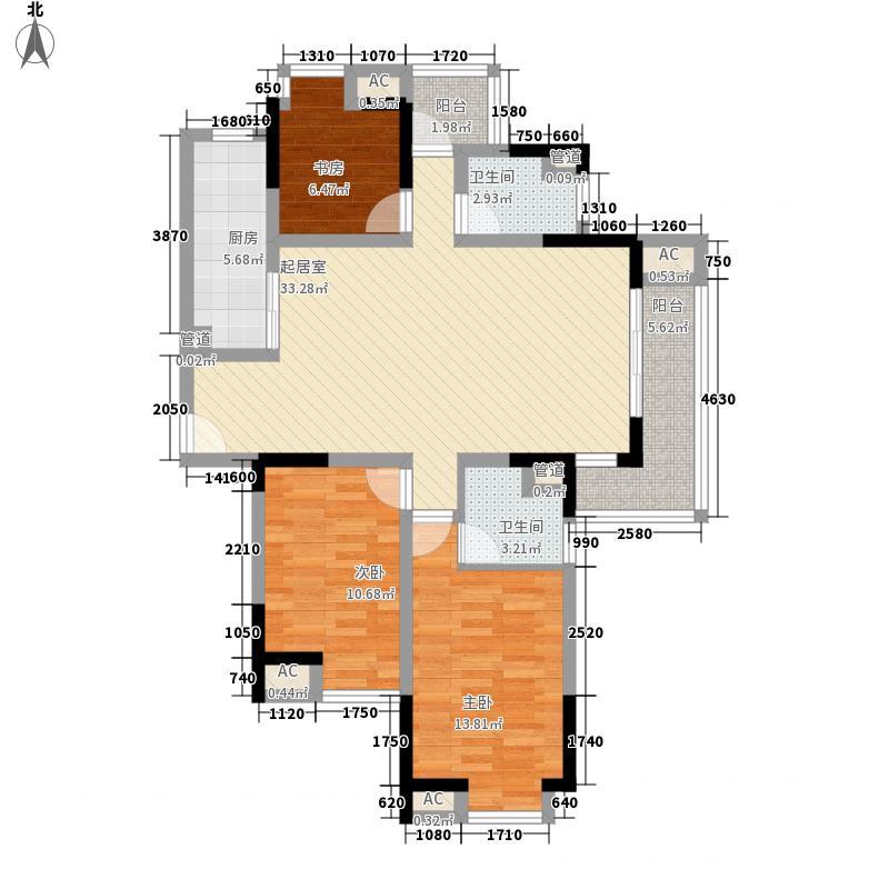 宜嘉湖庭花园125.46㎡H户型3室2厅2厨