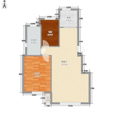 光明山西街2室1厅1卫1厨91.00㎡户型图
