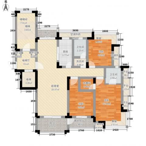 映月苑3室0厅2卫1厨110.00㎡户型图