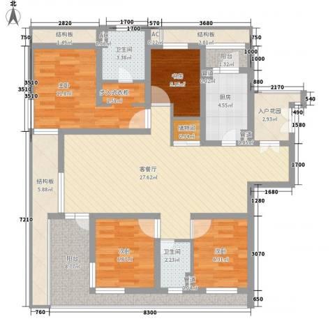 金地格林世界高尔夫公馆4室1厅2卫1厨123.00㎡户型图