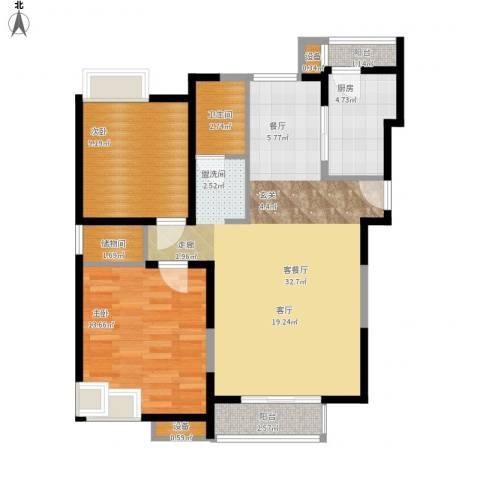 天房美域2室1厅1卫1厨99.00㎡户型图