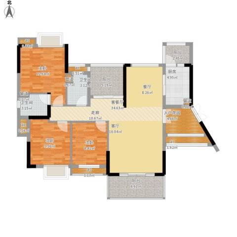 方直.星耀国际3室1厅2卫1厨147.00㎡户型图