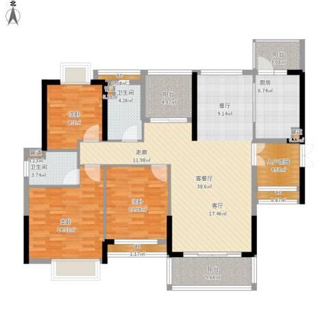 方直.星耀国际3室1厅2卫1厨157.00㎡户型图