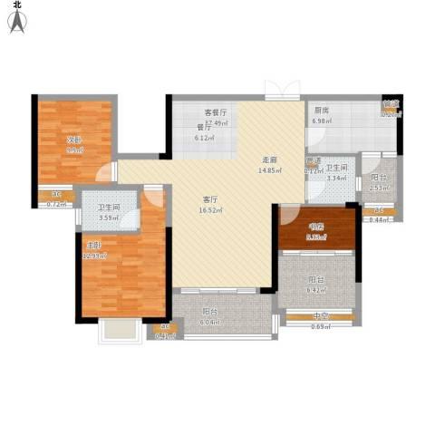 方直.星耀国际3室1厅2卫1厨142.00㎡户型图