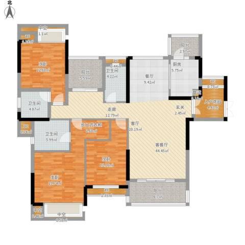 方直.星耀国际3室1厅3卫1厨197.00㎡户型图