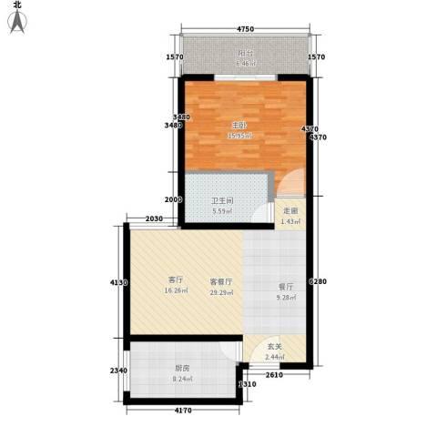 九台2000家园1室1厅1卫1厨92.00㎡户型图