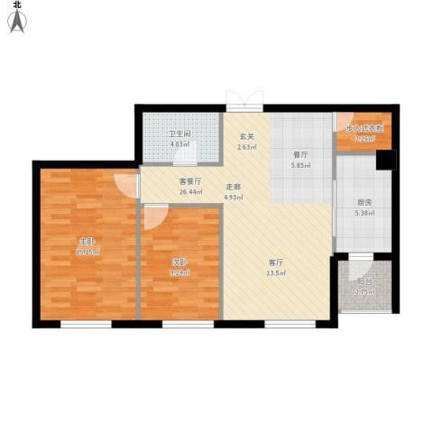 锦湖・金色世家2室1厅1卫1厨92.00㎡户型图