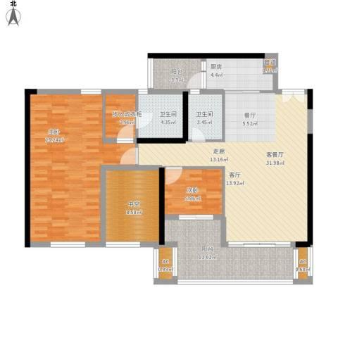 珑湖湾东岸2室1厅2卫1厨149.00㎡户型图