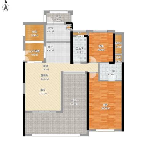 珑湖湾东岸2室1厅2卫1厨170.00㎡户型图