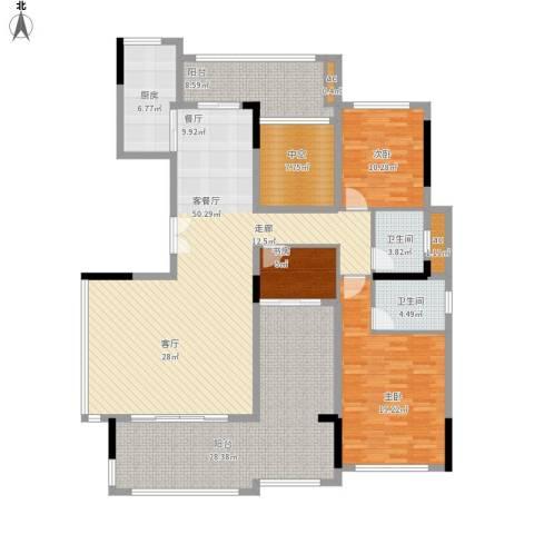 珑湖湾东岸3室1厅2卫1厨208.00㎡户型图