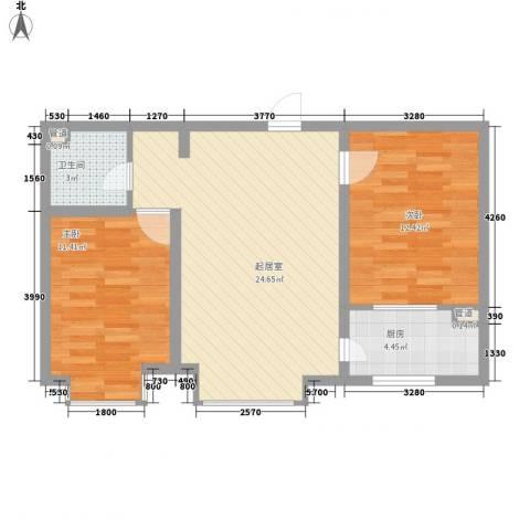 水语青城2室0厅1卫1厨78.00㎡户型图