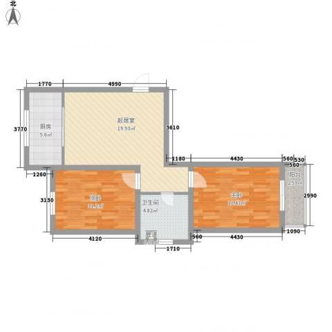 水语青城2室0厅1卫1厨83.00㎡户型图
