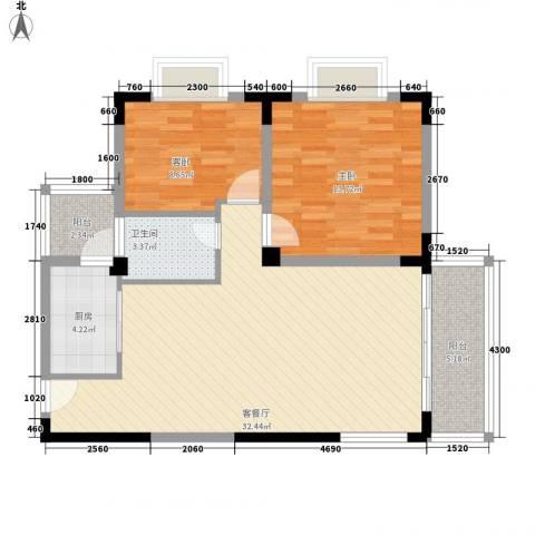 三亚印象2室1厅1卫1厨97.00㎡户型图
