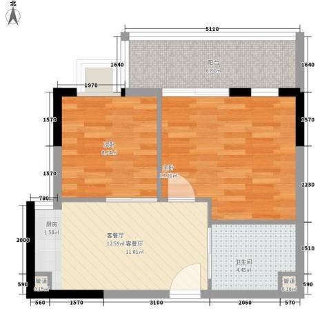 三亚印象2室1厅1卫0厨65.00㎡户型图