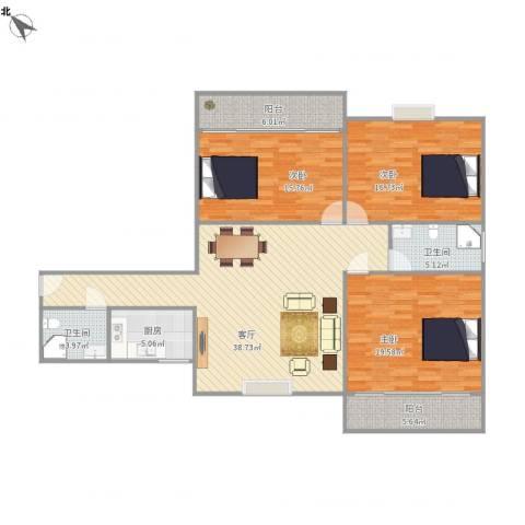 国贸金海岸3室1厅2卫1厨156.00㎡户型图