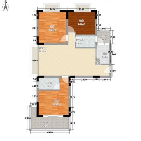 三亚印象3室1厅2卫1厨120.00㎡户型图