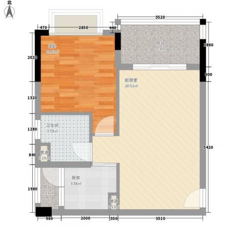 雍景豪园1室0厅1卫1厨65.00㎡户型图