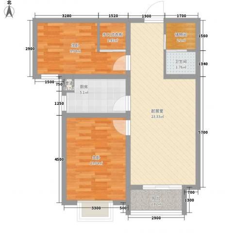 天伦城上城2室0厅1卫1厨87.00㎡户型图