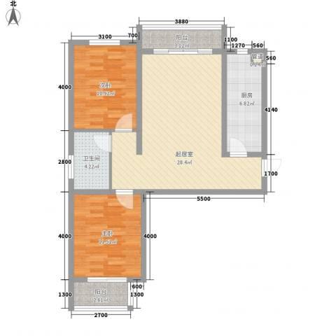 天伦城上城2室0厅1卫1厨67.73㎡户型图