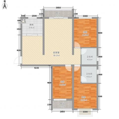 天伦城上城3室0厅2卫1厨92.05㎡户型图