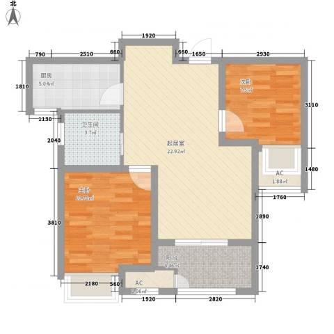 昆山香溢紫郡2室0厅1卫1厨67.00㎡户型图