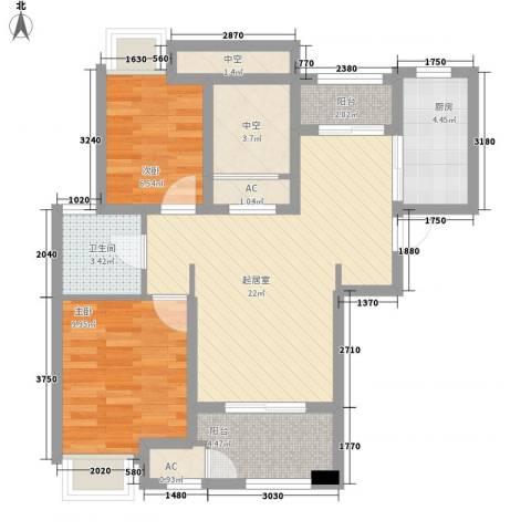 昆山香溢紫郡2室0厅1卫1厨72.00㎡户型图