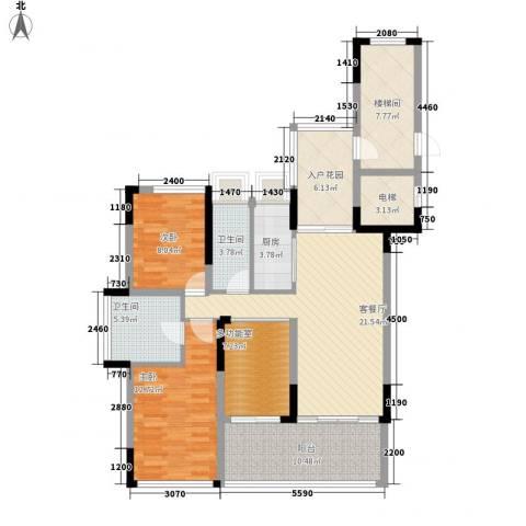 合景・汀澜海岸2室1厅2卫1厨133.00㎡户型图