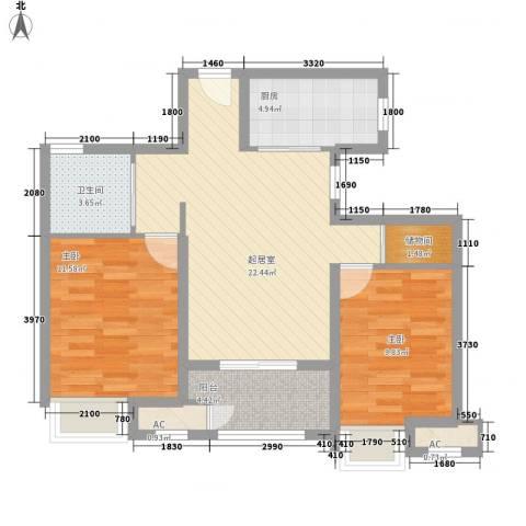 昆山香溢紫郡2室0厅1卫1厨69.95㎡户型图