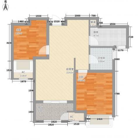 昆山香溢紫郡2室0厅1卫1厨66.89㎡户型图