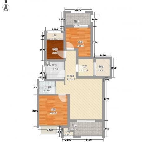 昆山香溢紫郡3室0厅1卫1厨70.84㎡户型图