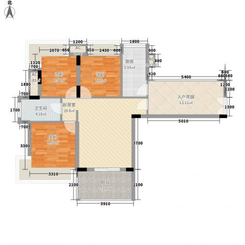御花苑天逸湾3室0厅1卫1厨395.00㎡户型图