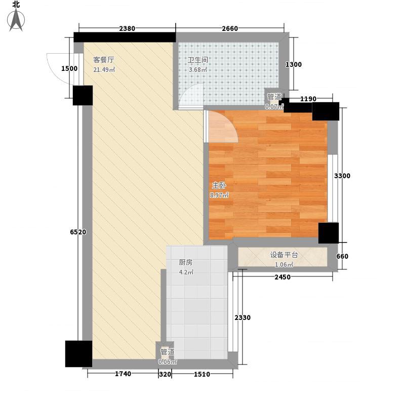 红帆蓝调48.25㎡二期1号楼1#户型1室1厅1卫1厨
