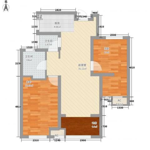 昆山香溢紫郡2室0厅2卫0厨71.20㎡户型图