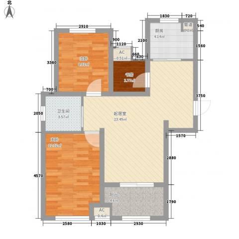 昆山香溢紫郡3室0厅1卫1厨70.40㎡户型图