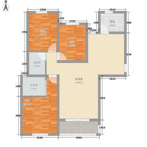 御景名门3室0厅2卫1厨82.11㎡户型图