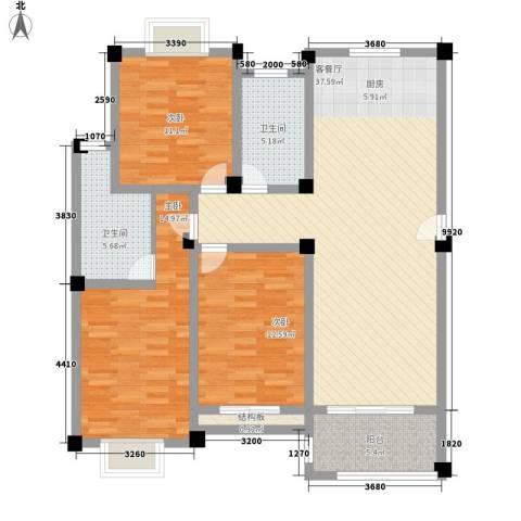 金和家园3室1厅2卫0厨137.00㎡户型图