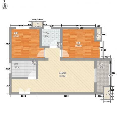 金辉天鹅湾2室0厅1卫1厨82.00㎡户型图